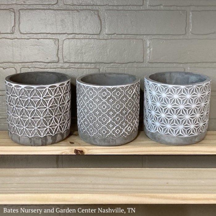Pot Cylinder 5x5 Asst Decor Cement