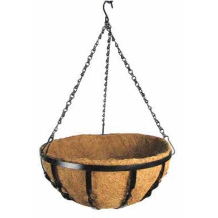"""14"""" Hanging Basket Black Metal w/Coco Liner Windsor Border"""