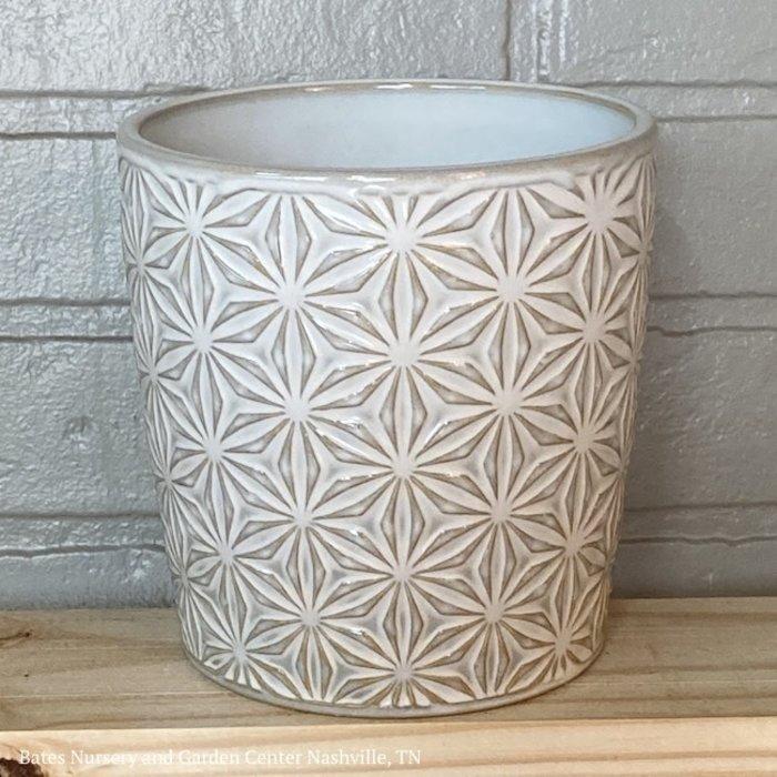 Pot Cylinder Starburst Decor Lrg 10x10 White