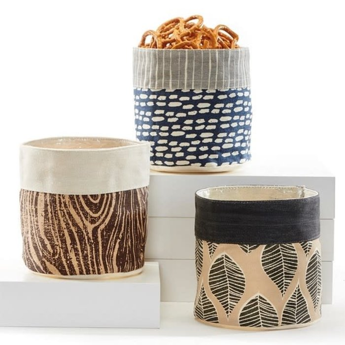"Pot Fabric  Storage Planter w/Liner 5.5"" Botanical Dark"