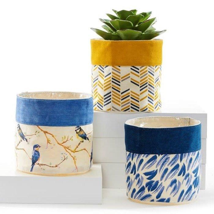 "Pot Fabric  Storage Planter w/Liner 5.5"" Asst Yellow/Blue"