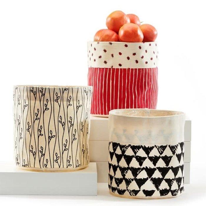 "Pot Fabric  Storage Planter w/Liner 7"" Leaves/Ladybug/Triangle"