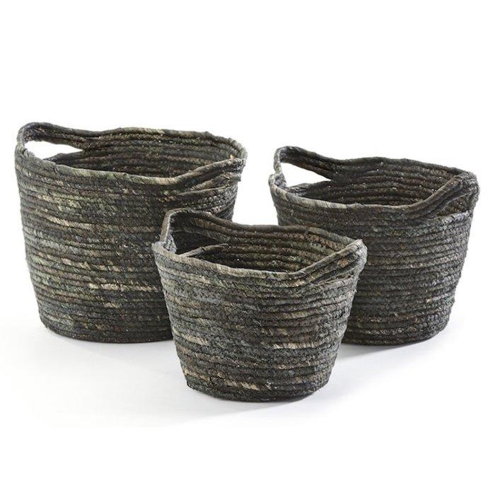 Basket Natural Grass Lrg 15x9 Gray/Tan