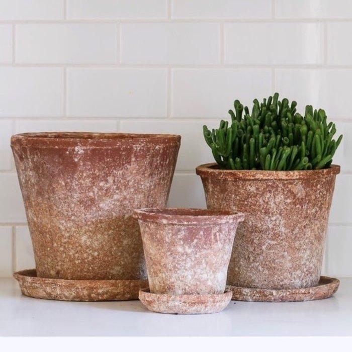 Pot Vesuvius Sml 6 x 5 w/Saucer Red Aged T-Cotta