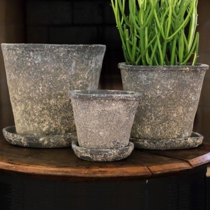 Pot Vesuvius Med 7.5 x 7 w/Saucer Gray Aged T-Cotta