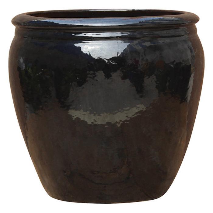 Pot Venice Olive Jar Med 13x13 Blk/Wht