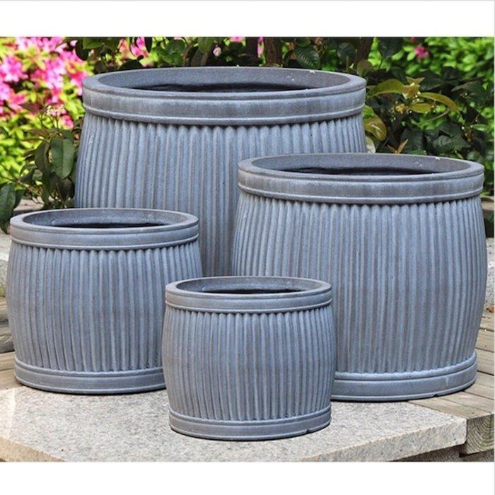Pot Ribbed Barrel Cylinder Lrg 15x13.5 Lt Wt FiberClay