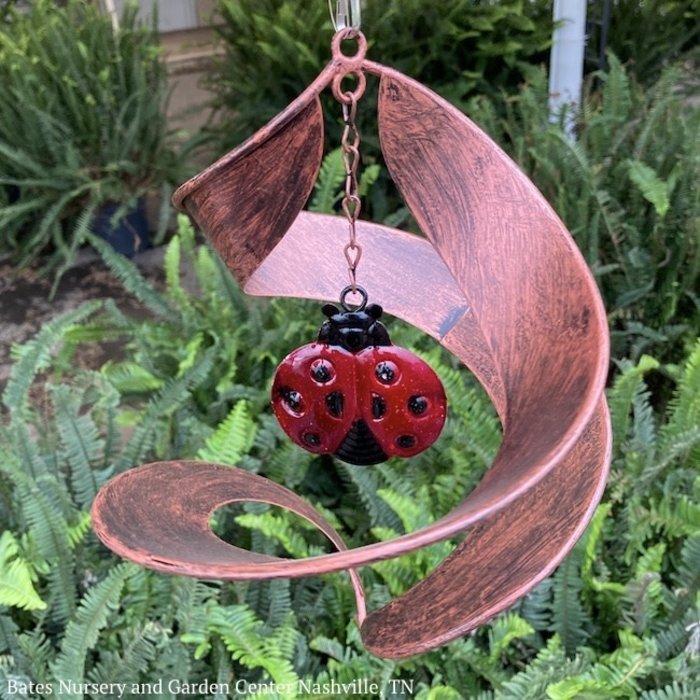 Hanging Wind Twirler Bronze Swirl Ladybug