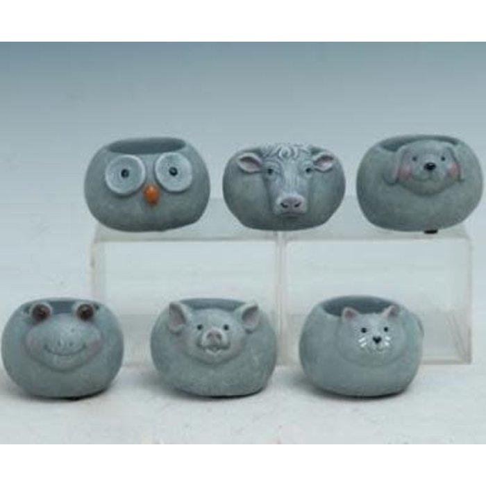 """Pot Mini Animal Pot 4"""" Asst Cement"""