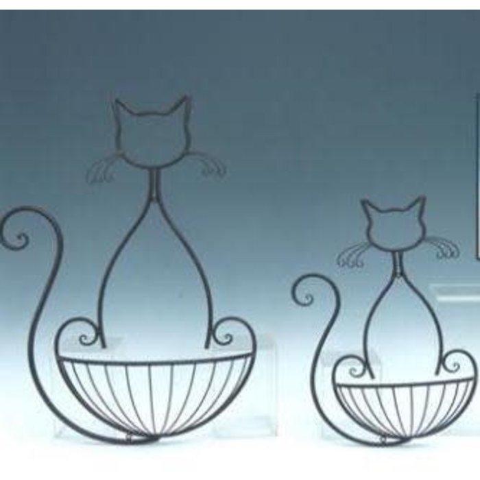 Wall Basket/Planter w/Cat Design Lrg 17x5x25 Metal