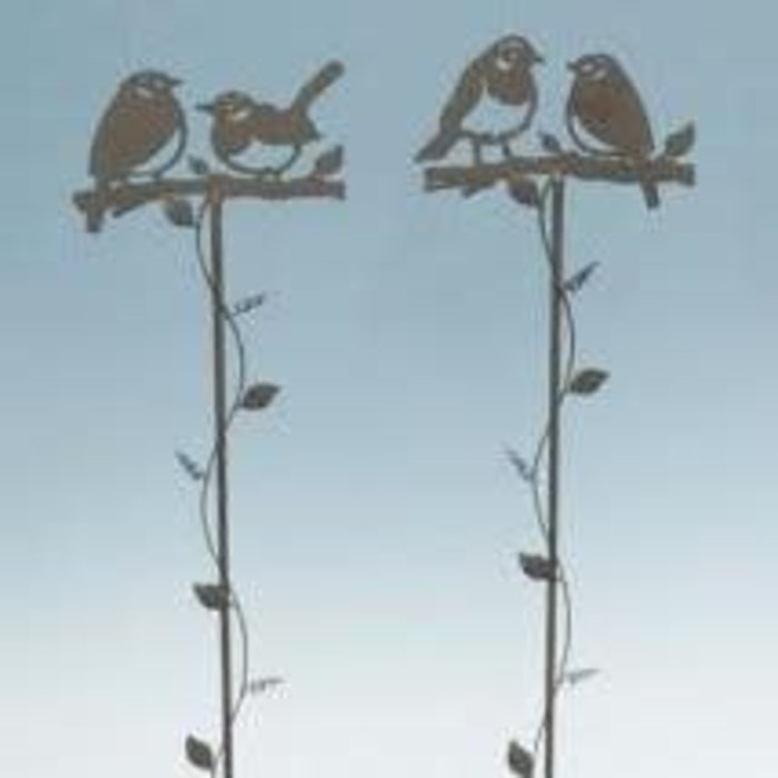 """Garden Stake Birds on Branch w/Vine Asst Metal 38""""H"""