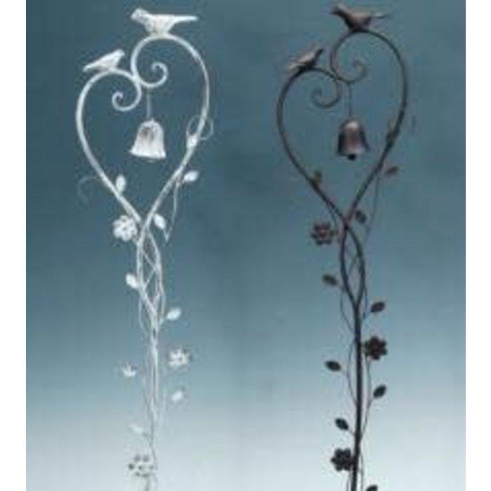 """Garden Stake Floral Vine Birds w/Bell Asst 59""""H"""