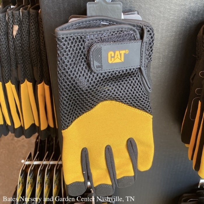 CAT Gloves Padded Palm Utility Adj Wrist/Syn Lthr/Spandex Blk & Ylw Size 9