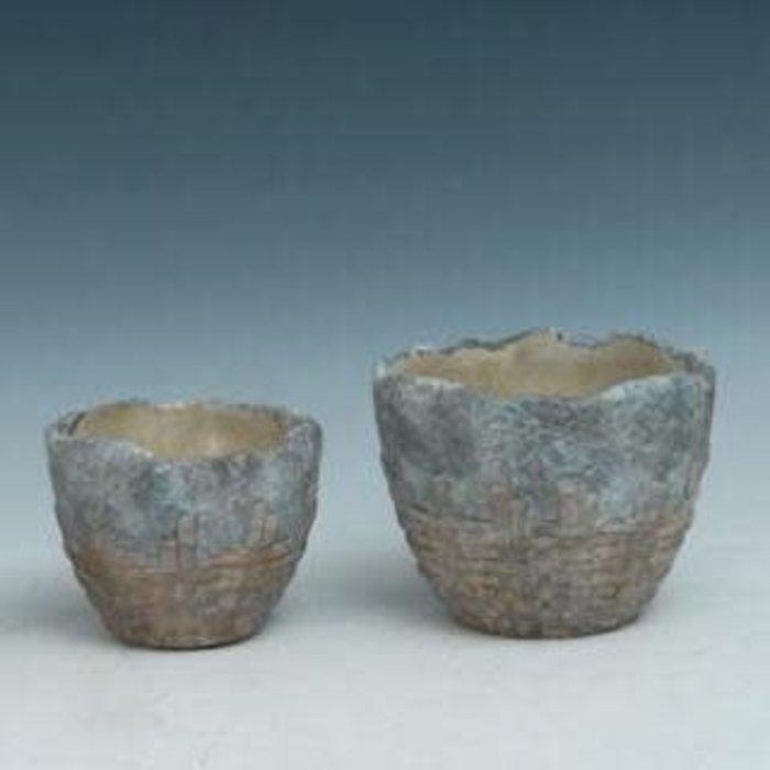 Pot Weave Decor Med 6.5x5 Cement
