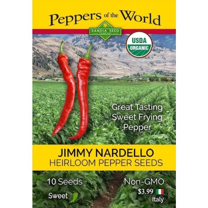 Seed Pepper Jimmy Nardello Organic Heirloom - Capsicum annuum