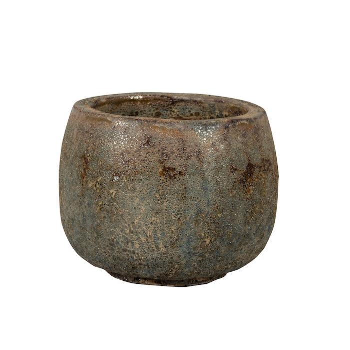 Pot Kona Footed Pot Sml 9.5x7 Lava Brown/Lava White