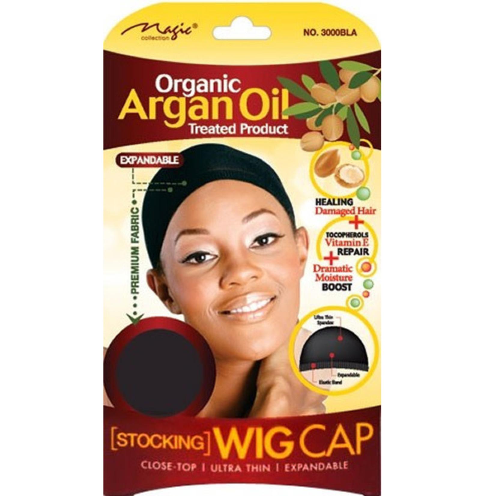 MAGIC COLLECTION MAGIC COLLECTION 2PCS ORGANIC ARGAN OIL STOCKING WIG CAP - BLACK