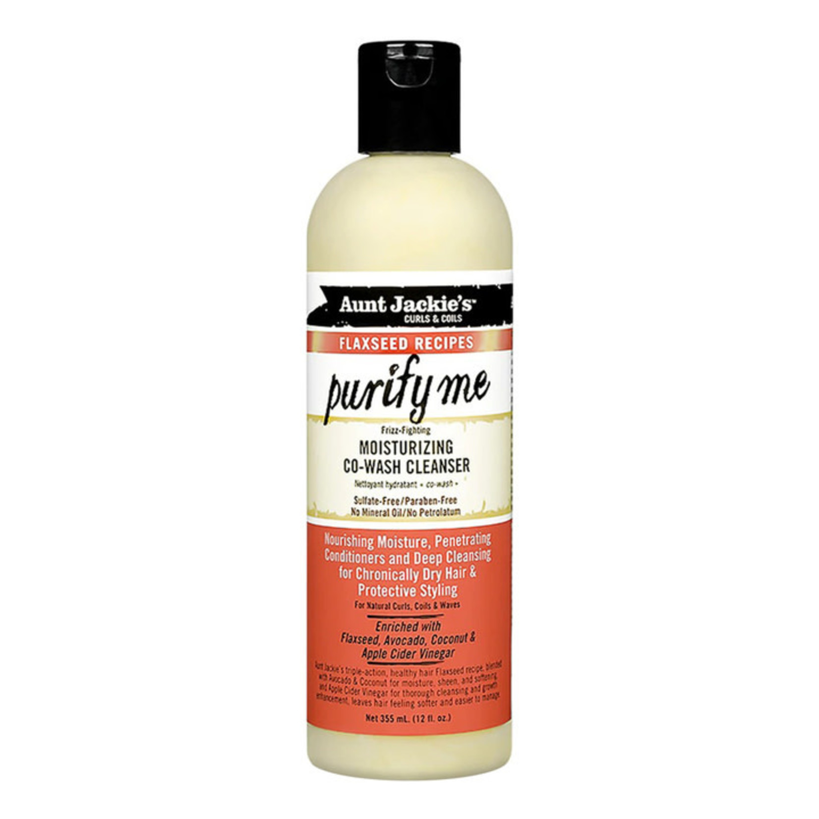 AUNT JACKIE'S AUNT JACKIE'S FLAXSEED RECIPES PURIFY ME MOISTURIZING CO-WASH CLEANSER [12OZ]