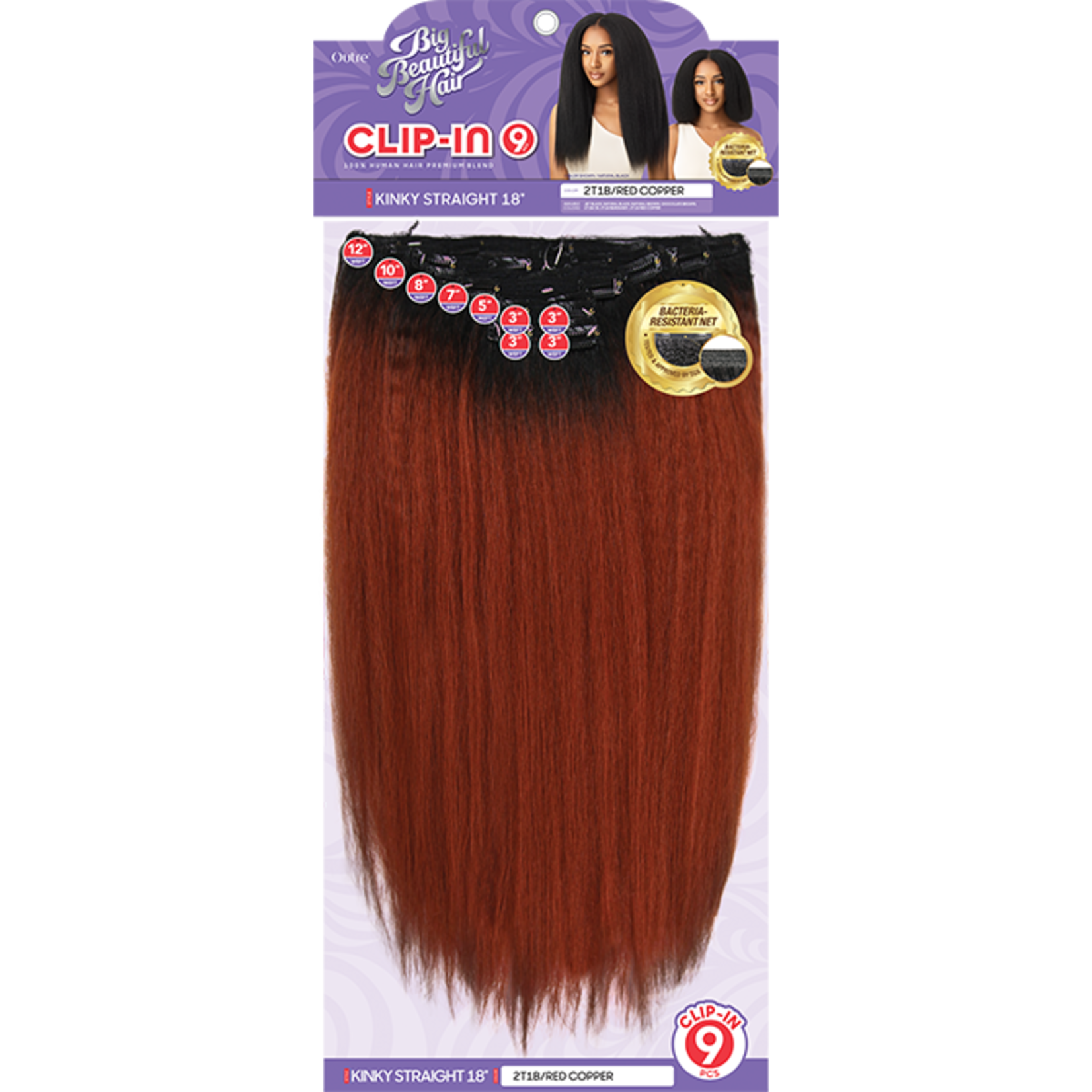 OUTRE Big Beautiful Hair Clip in 9PCS  Kinky Straight 18″
