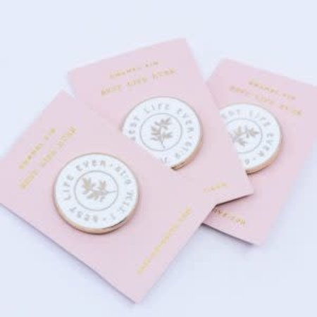 Happier To Give HTG White Enamel BLE Pin