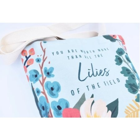 Happier To Give HTG Cotton Lilies 16x16 Tote