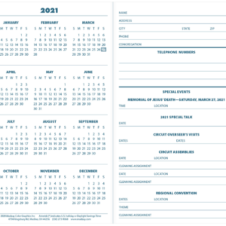 Madzay 2021 Pocket Calendar- Photo