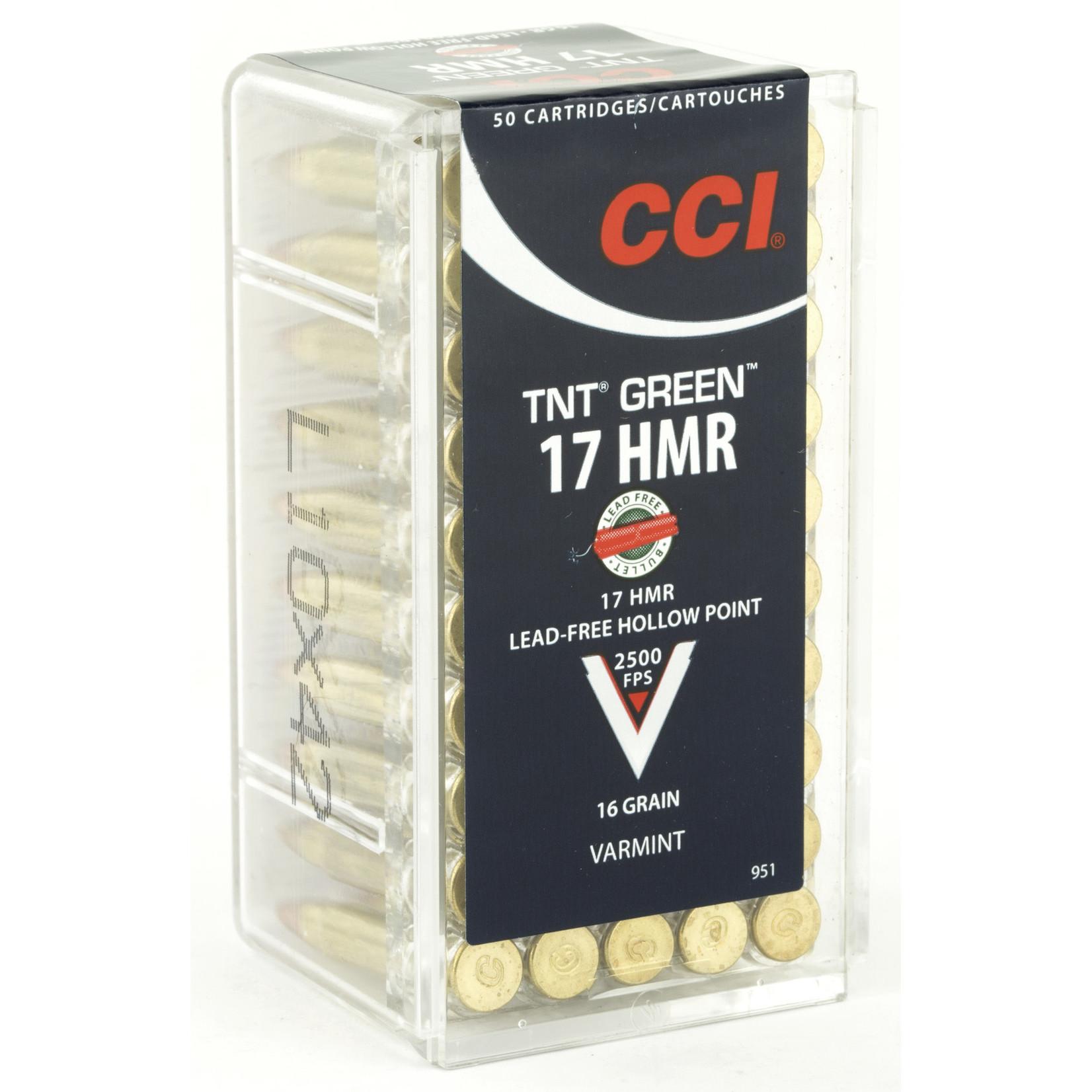 CCI/Speer CCI, TNTGreen, 17 HMR, 16 Grain, Hollow Point, Lead Free, 50 Round Box,