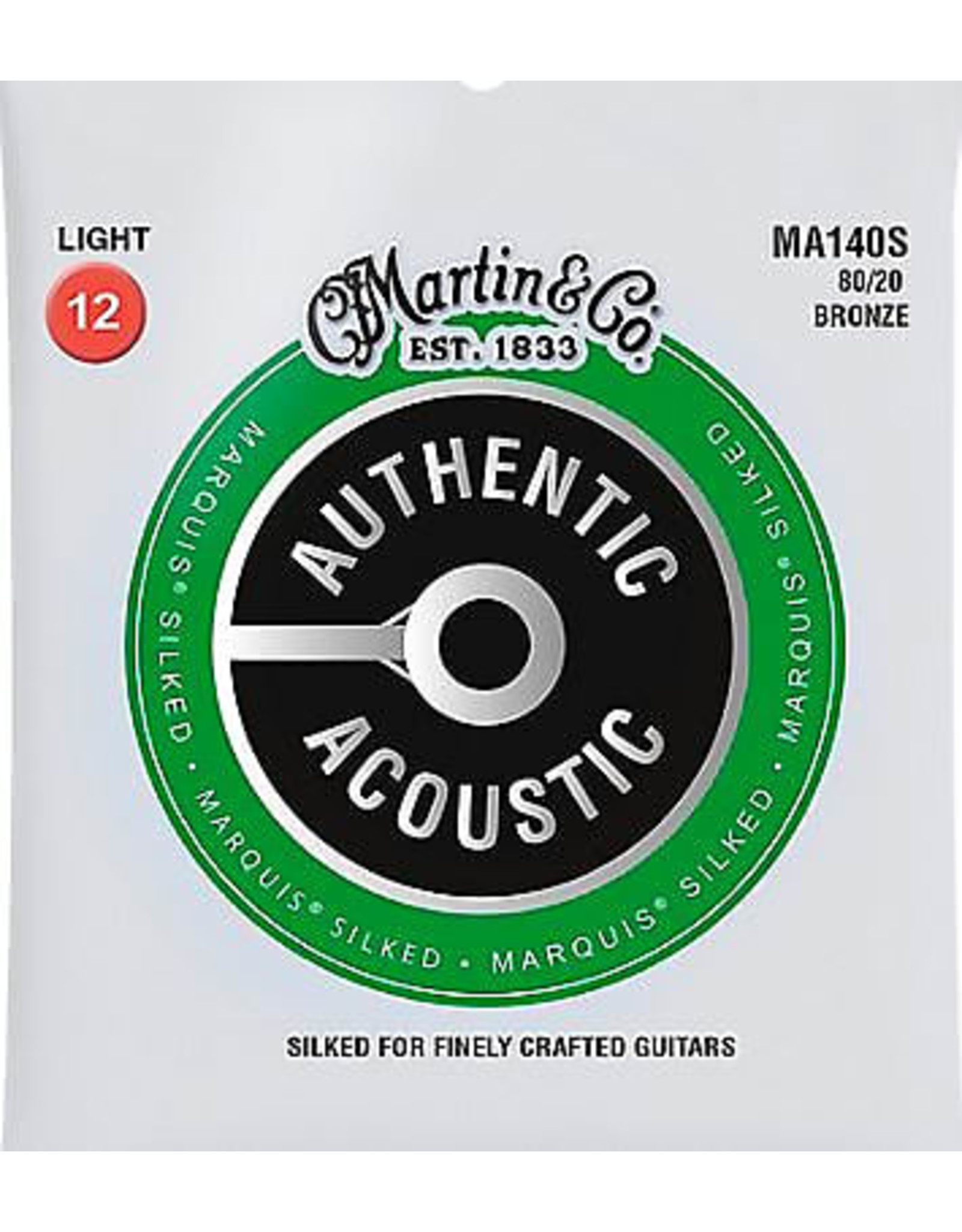 Martin & Co Martin MA140S Marquis 80/20 Bronze Light Authentic Acoustic Silked Guitar Strings