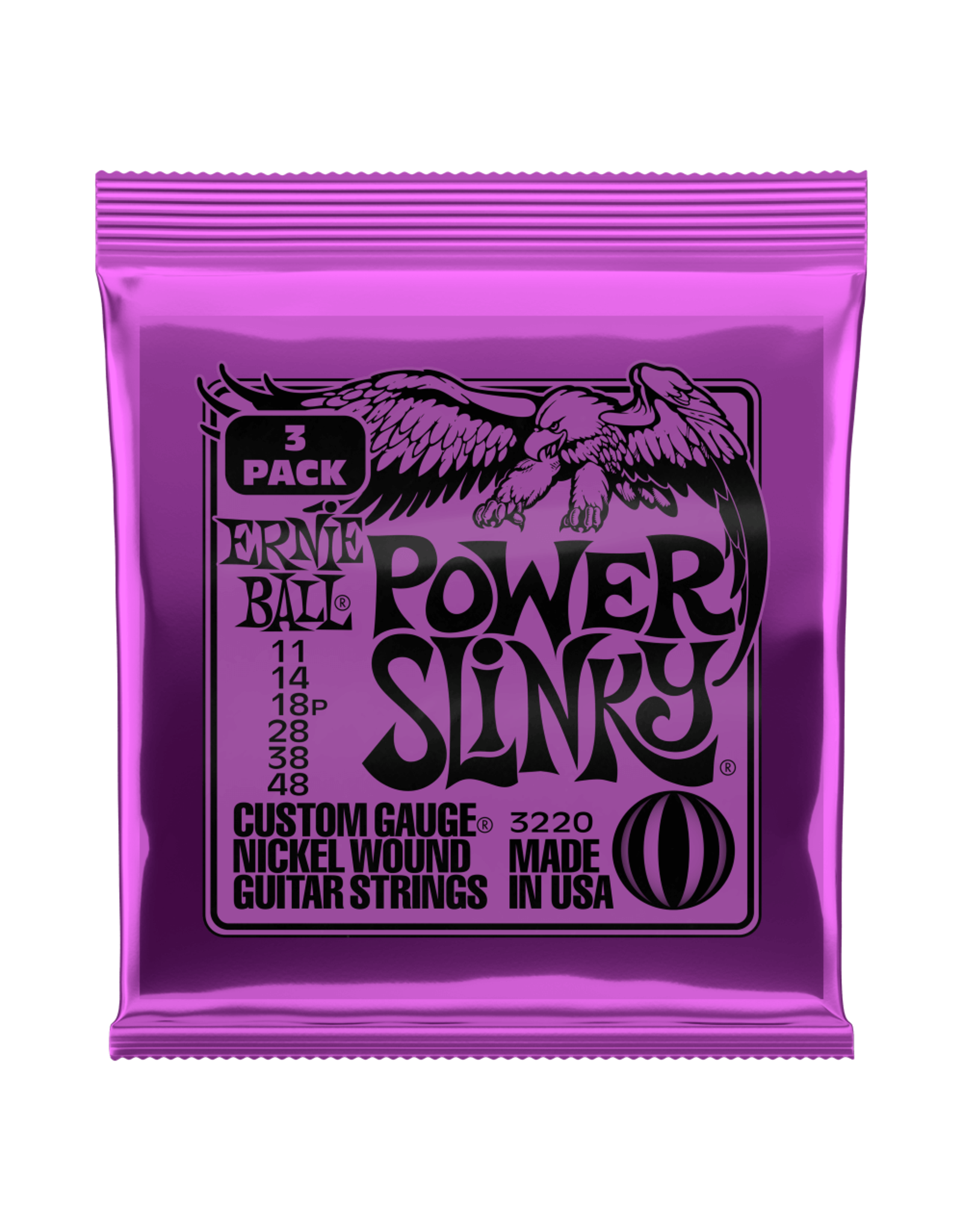 Ernie Ball Ernie Ball 3220 Power Slinky Nickel Wound Electric Guitar Strings 3 pk - 11-48 Gauge