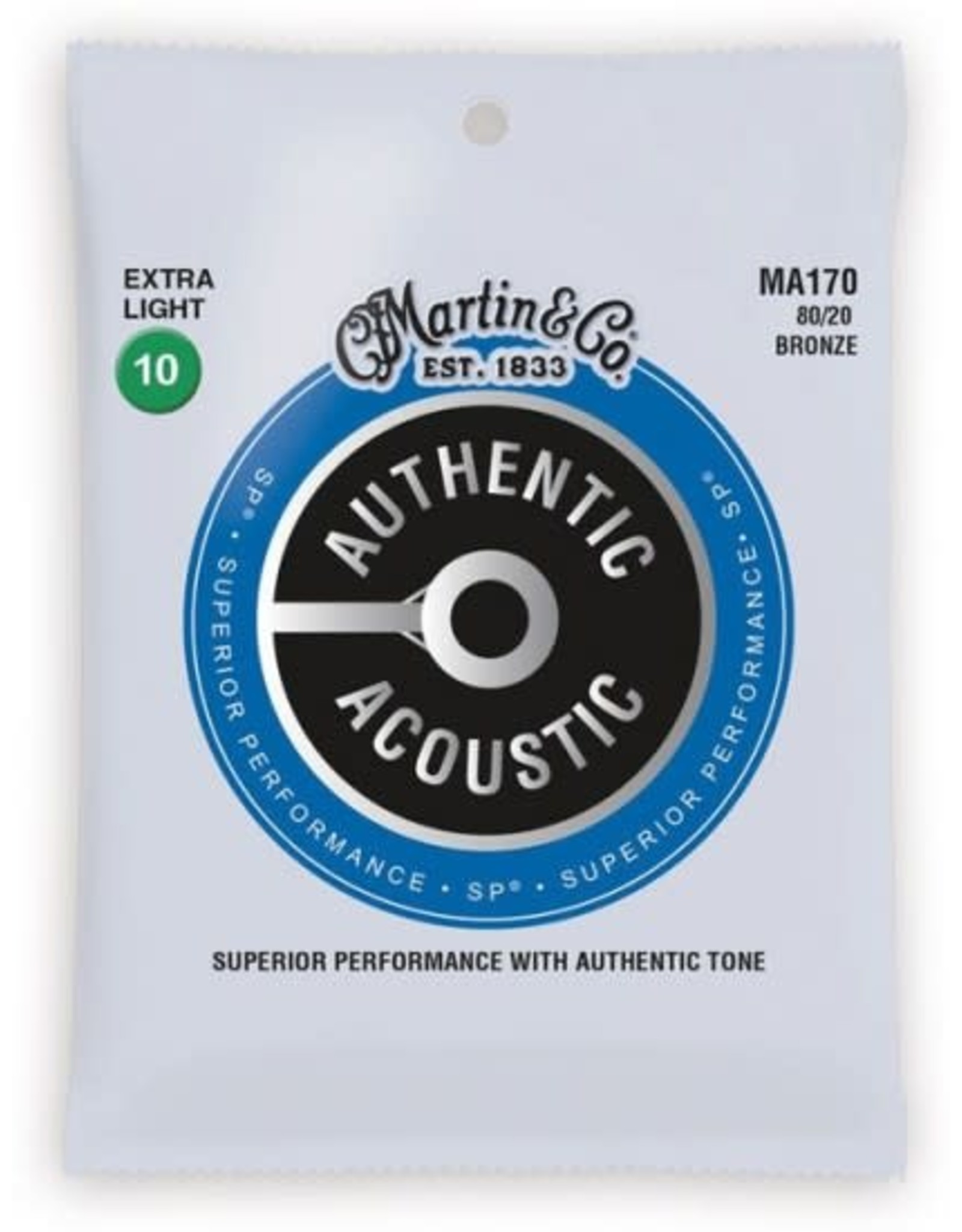Martin & Co Martin MA170 Authentic Acoustic SP 80/20 Bronze Extra Light Guitar Strings. 10-47