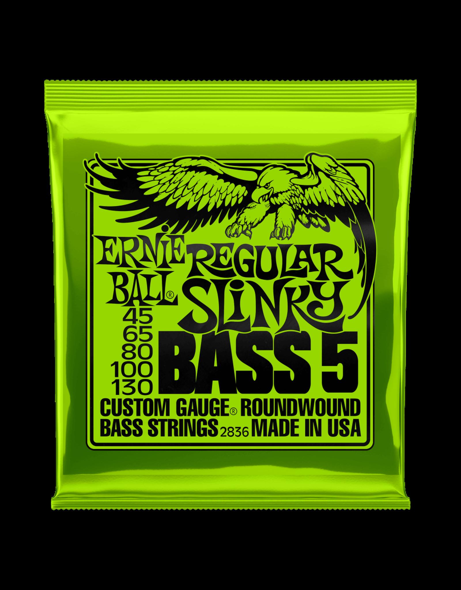 Ernie Ball Ernie Ball 2836 Regular Slinky 5-String Nickel Wound Electric Bass Strings - 45-130 Gauge