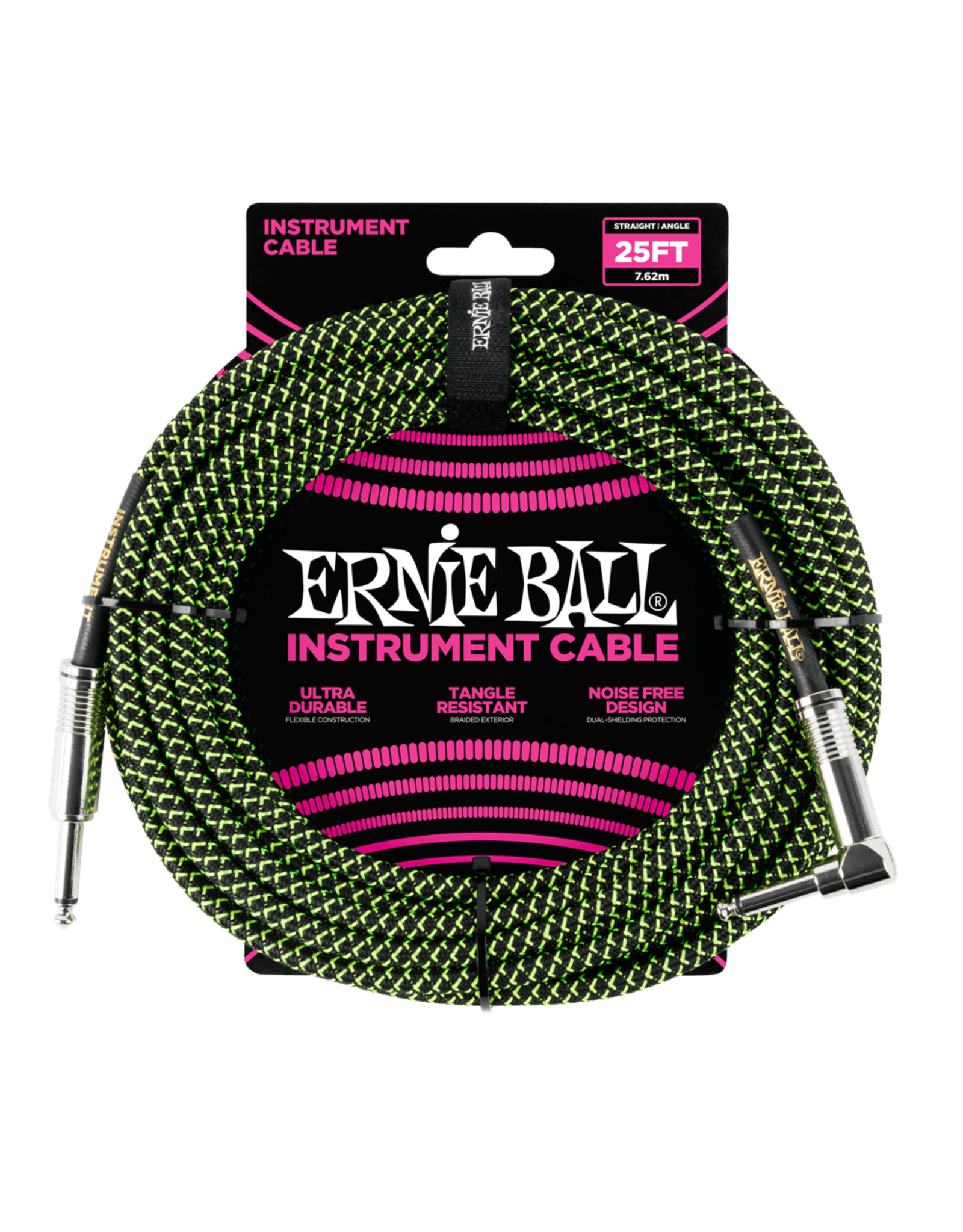 Ernie Ball Ernie Ball 6066 25' Straight/Angle Braided Black/Green Cable