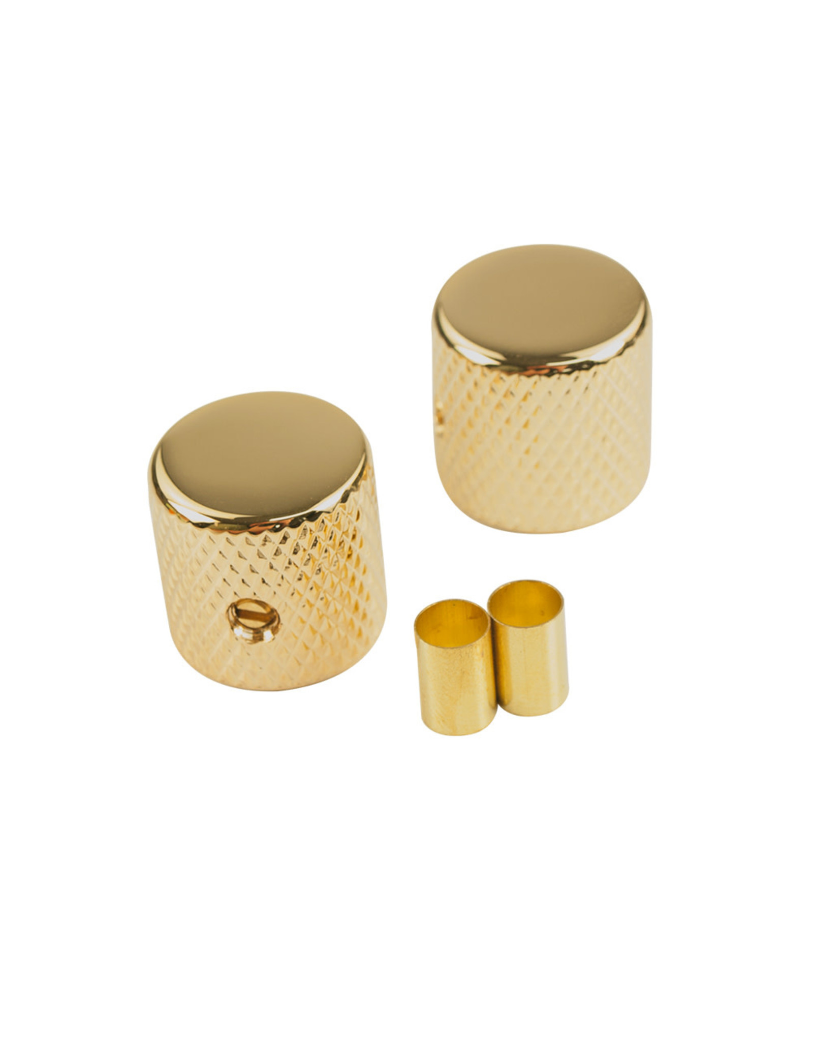 "WD Music Products WD® Brass Barrel Knob Set of 2  w/1/4"" Internal Diameter Gold"