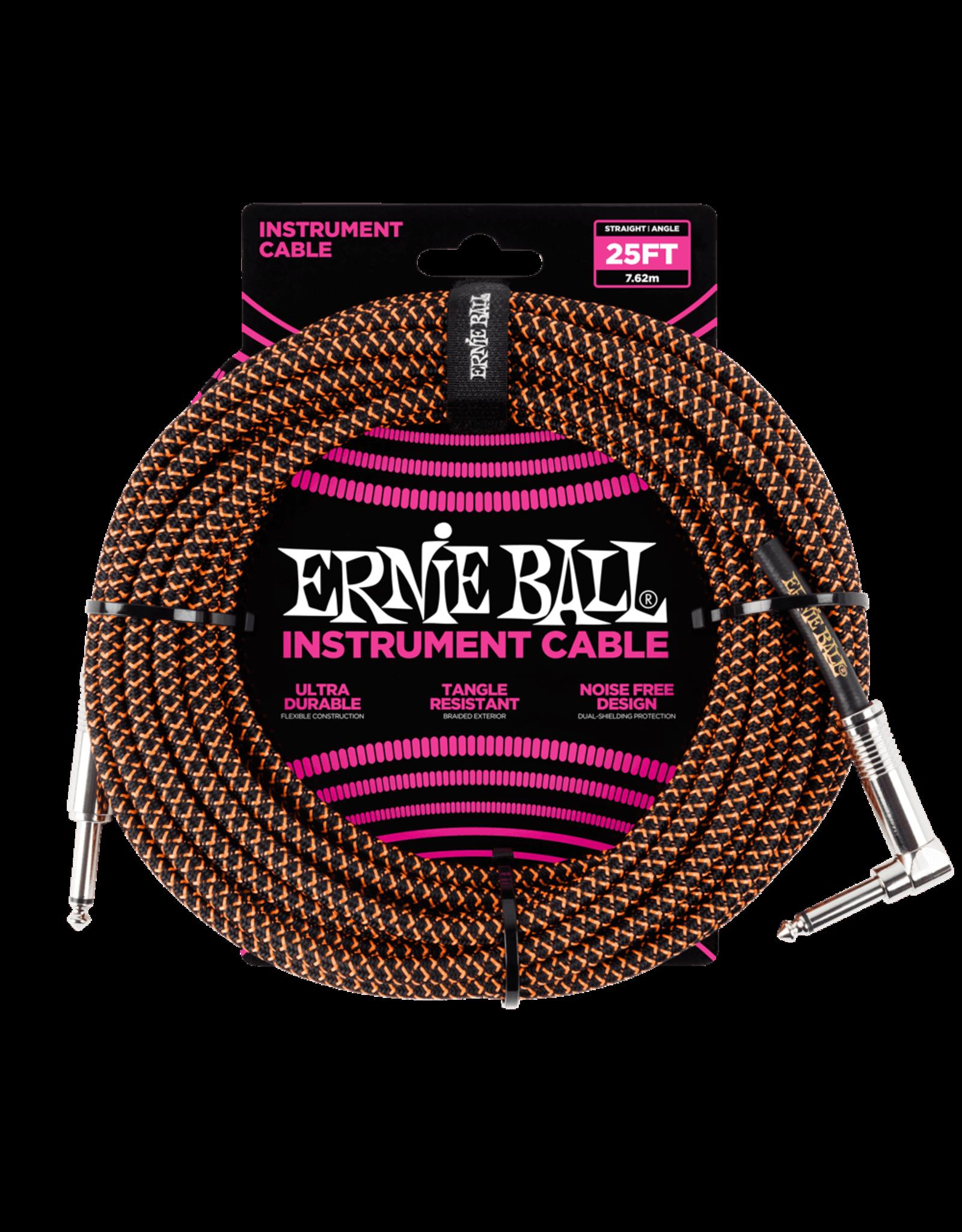 Ernie Ball Ernie Ball 6064 25' Braided Straight/Angle Instrument Cable - Black/Orange