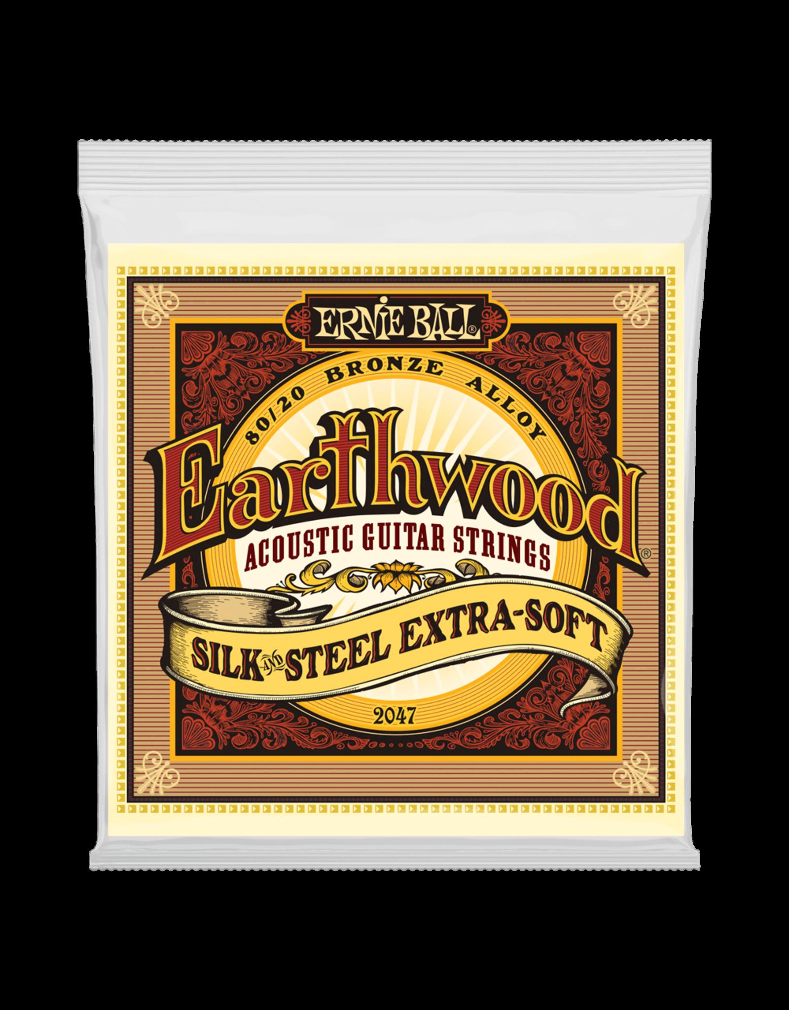 Ernie Ball Ernie Ball 2047 Earthwood Silk & Steel Extra Soft 80/20 Bronze Acoustic Guitar Strings - 10-50 Gauge