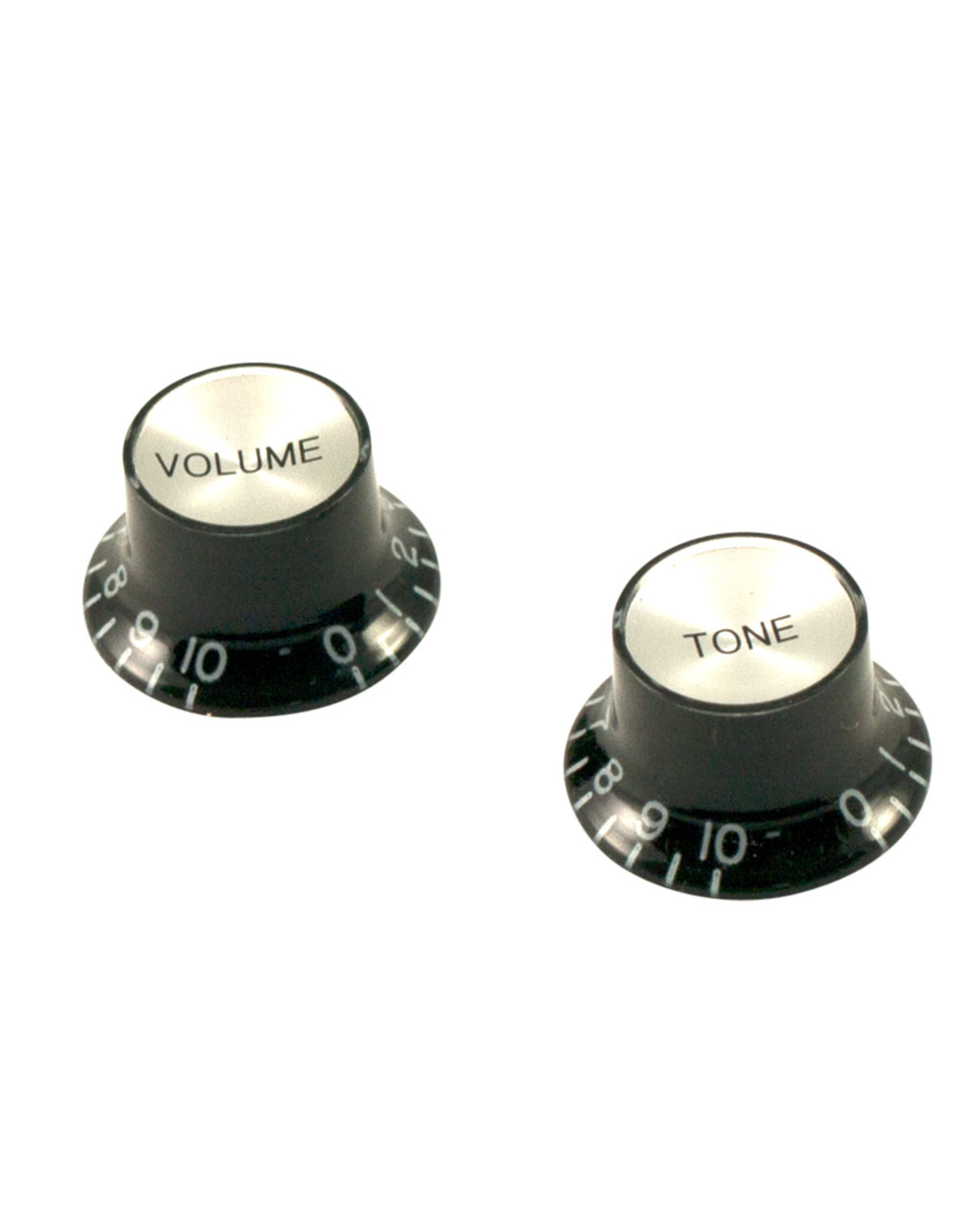 WD Music Products WD® Bell Knob Set Of 2 Black w/Silver Top (One Volume, One Tone)