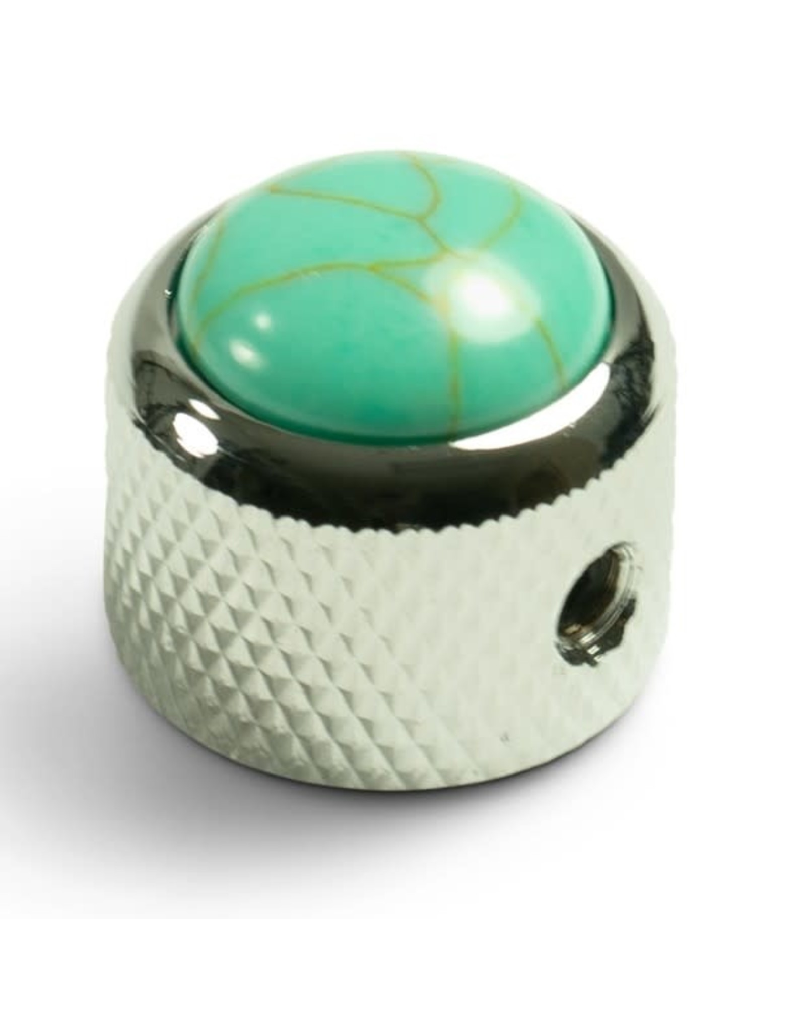 Q-Parts Q-Parts Knob With Turquoise Inlay Chrome