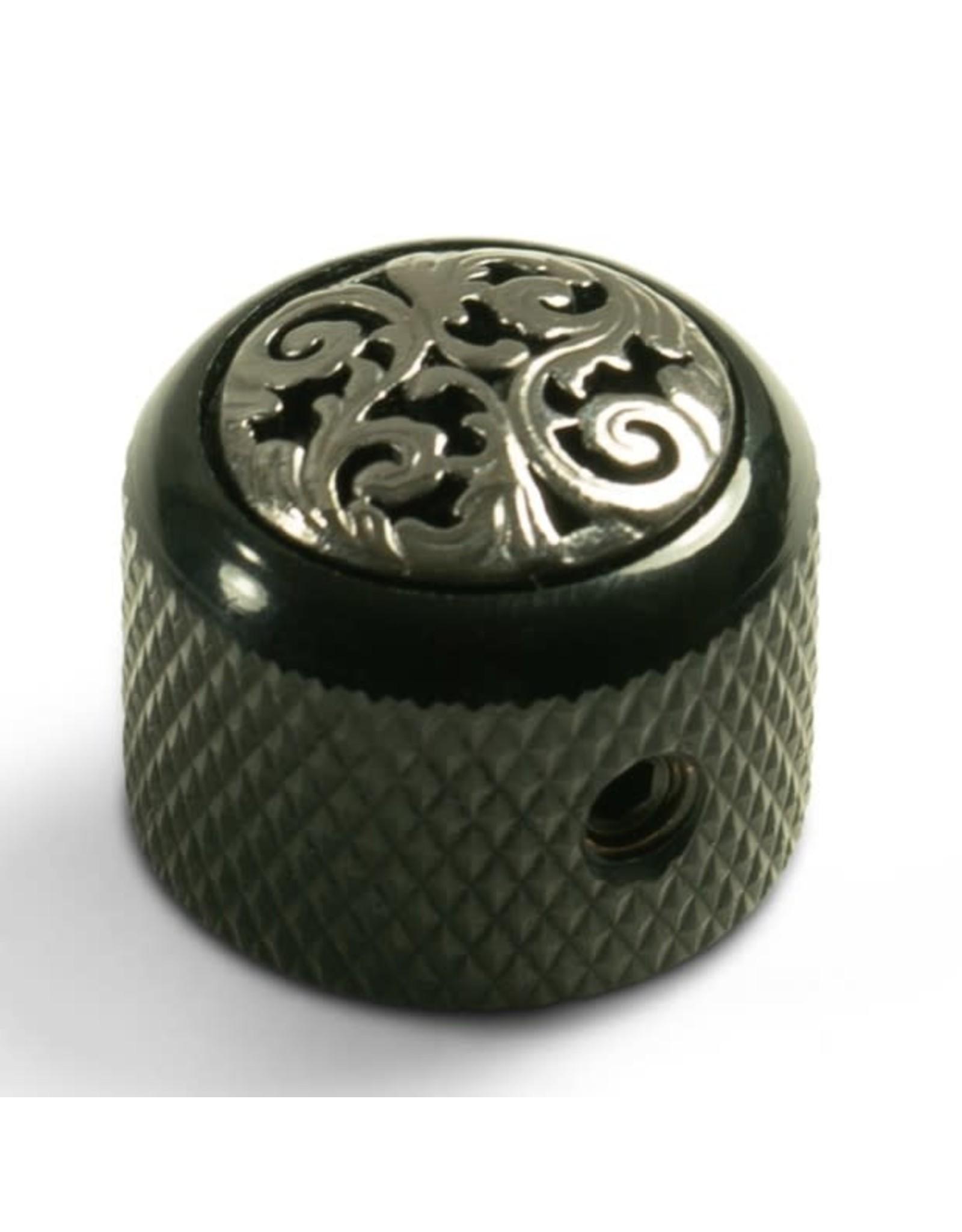 Q-Parts Q-Parts Knob With Vine Inlay Black