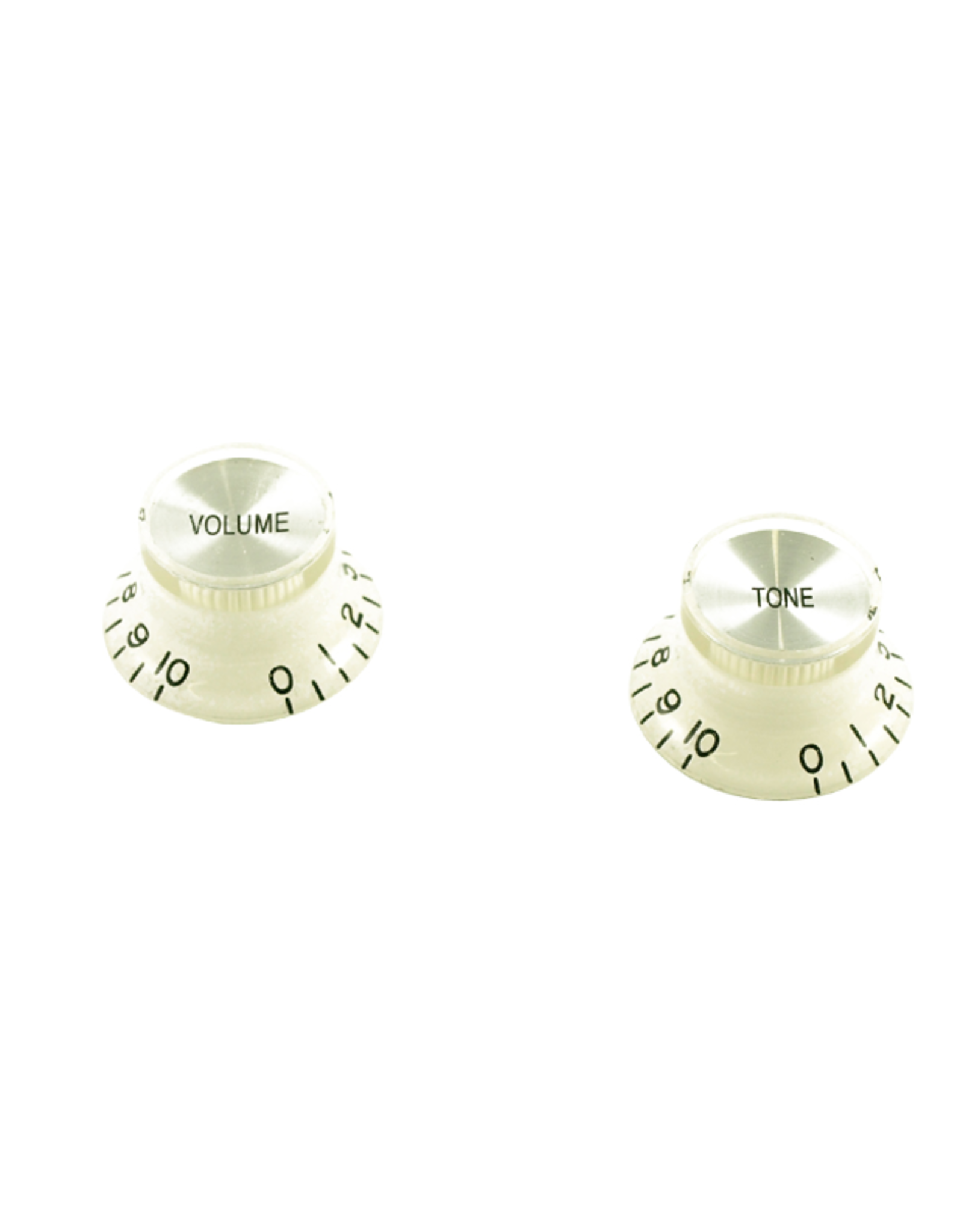 WD Music Products WD Bell Knob Set Of 2 White w/Silver Top