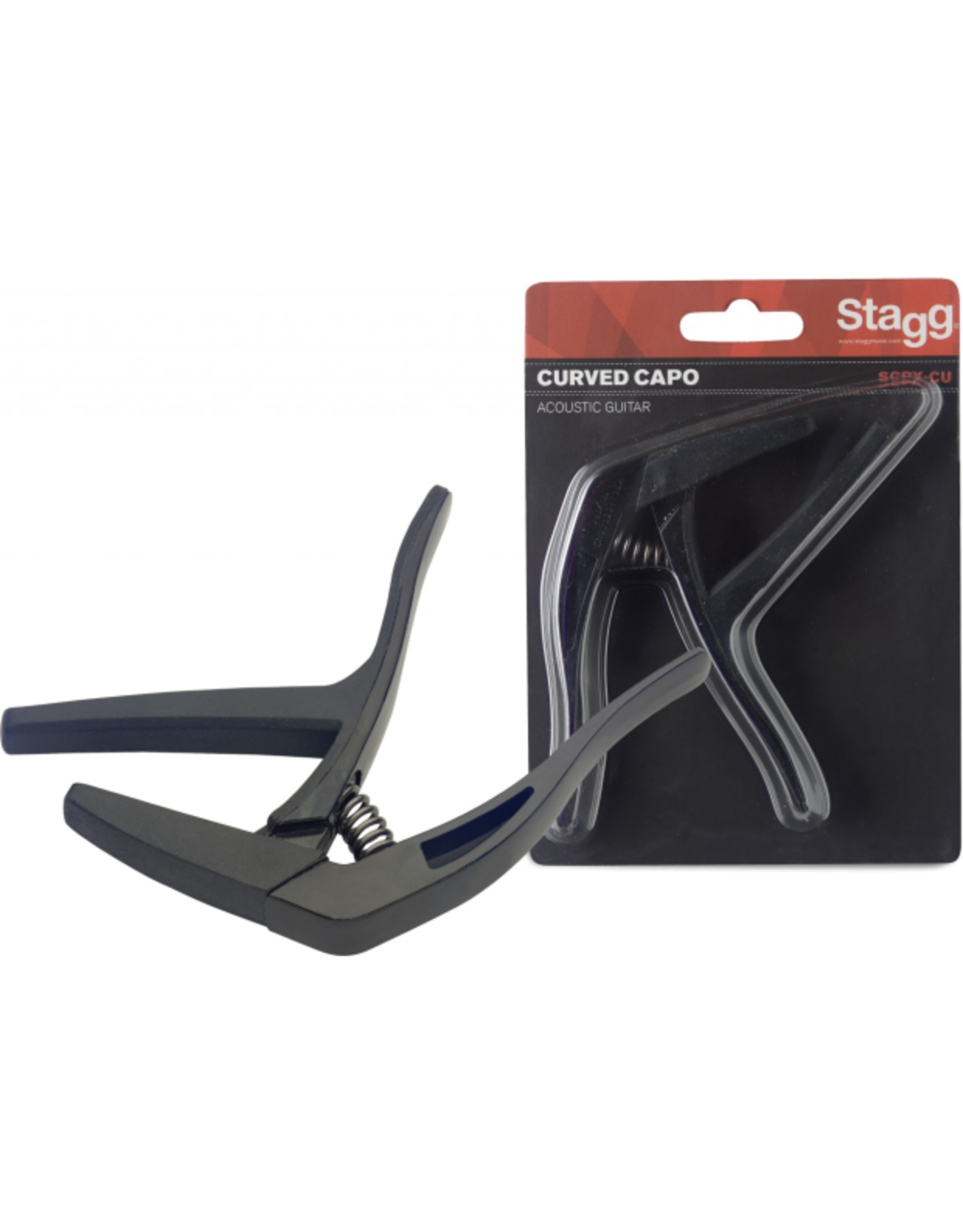 """Stagg Stagg Curved """"Trigger"""" Acoustic/Electric Guitar Capo Black"""