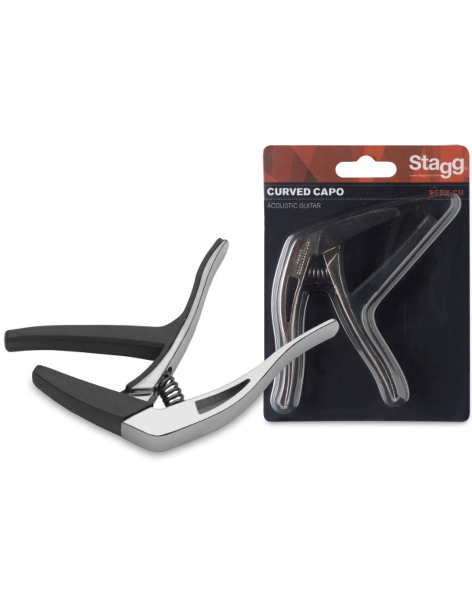 """Stagg Stagg Curved """"Trigger"""" Acoustic/Electric Guitar Capo Silver"""