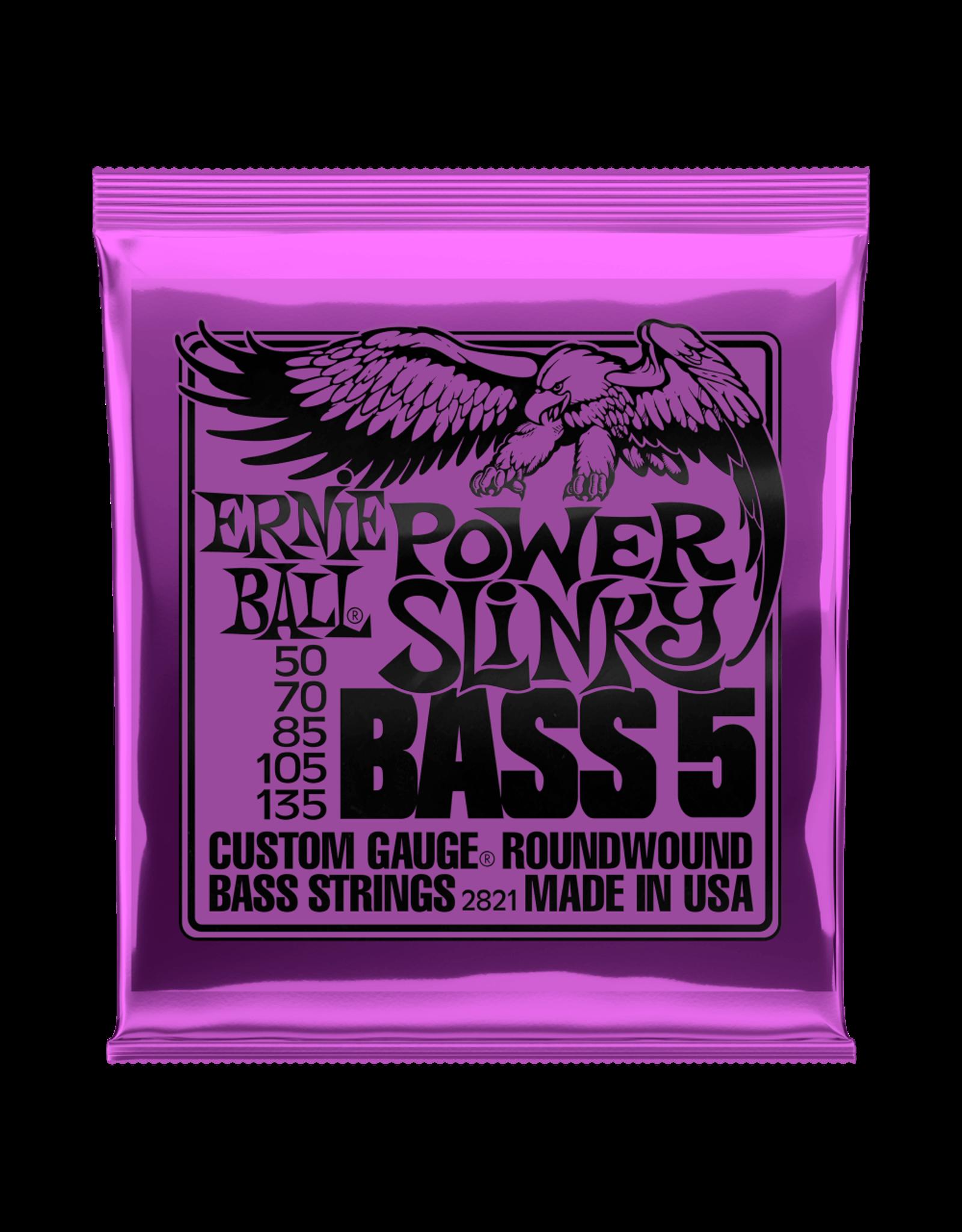 Ernie Ball Ernie Ball 2821 Power Slinky 5-String Nickel Wound Electric Bass Strings - 50-135 Gauge