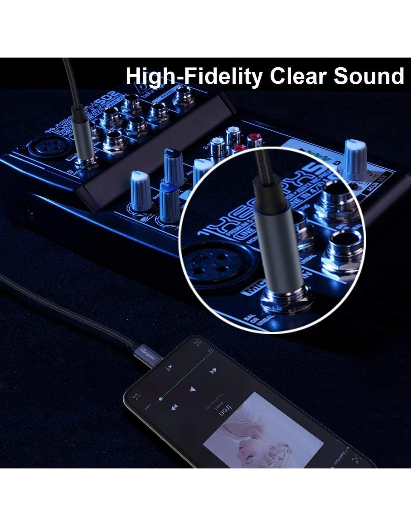 Koopao Koopao USB C to 6.35mm Male 1/4 TRS Audio Stereo Cable 3.28 ft