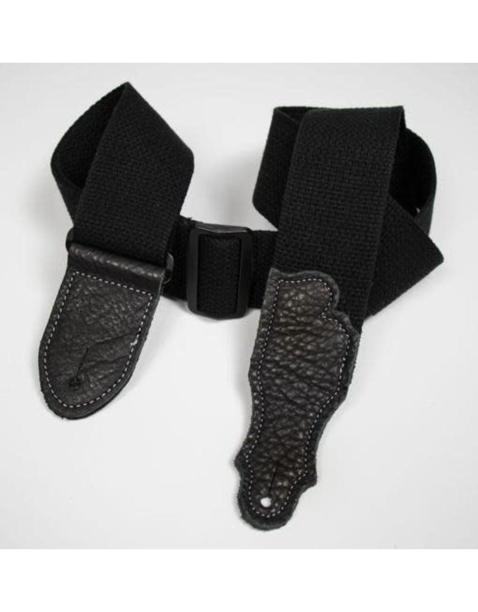 "Franklin Franklin 2"" Cotton Guitar Strap – Glove Leather End Tab Black"