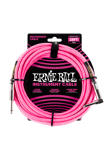 Ernie Ball Ernie Ball 25' Braided Straight/Angle Instrument Cable - Neon Pink