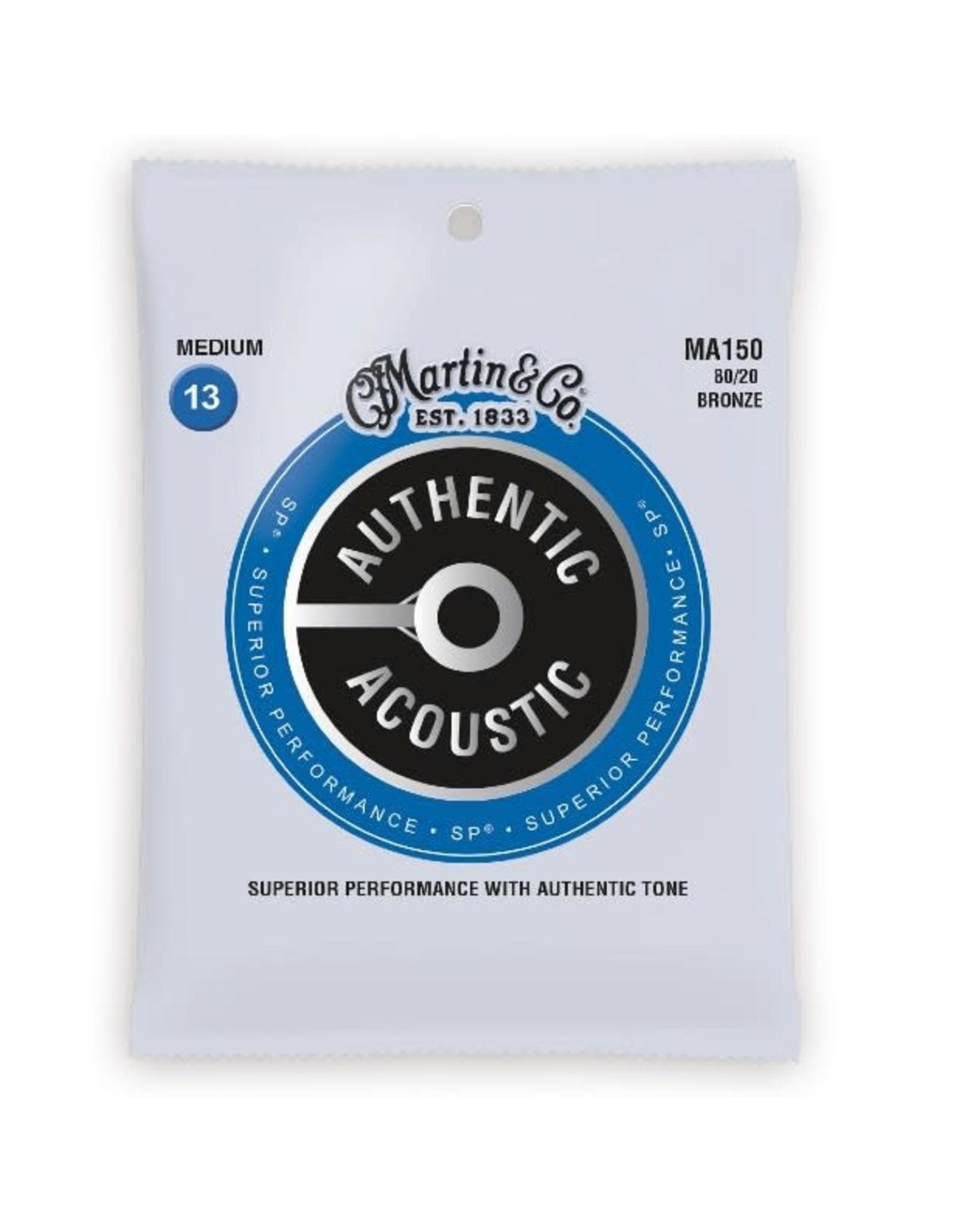 Martin & Co Martin MA150 Authentic Acoustic SP 80/20 Bronze Medium Guitar Strings. 13-56