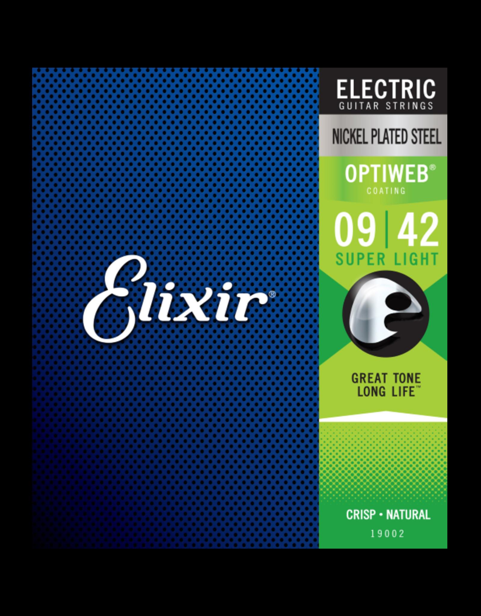 Elixir Elixir 19002 Electric Nickel Plated Steel w/Optiweb Coating 9-42