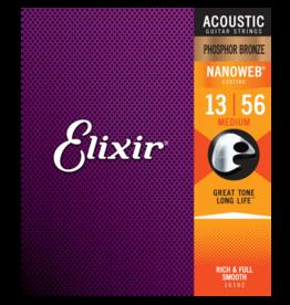 Elixir Elixir 16102 Phosphor Bronze Acoustic w/NANOWEB. Medium 13-56