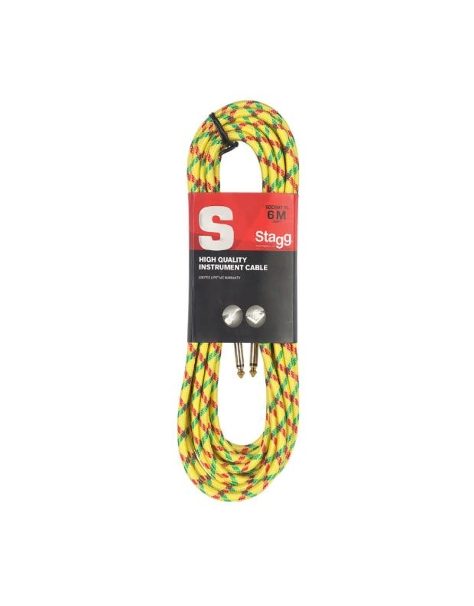 Stagg Stagg S-Series Vintage Tweed Style Instrument Cable 6M 20 ft Yellow
