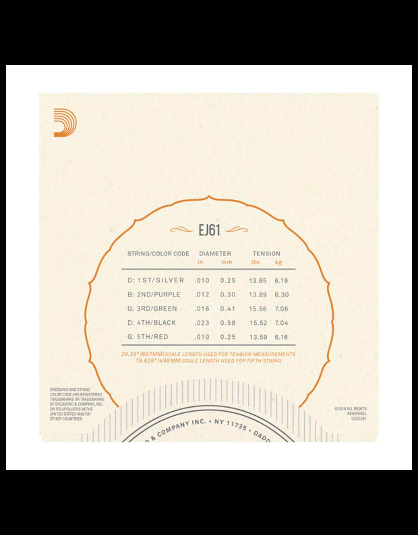 D'Addario D'Addario EJ61 Nickel Wound Banjo Strings - .010-.023 Medium 5-Str
